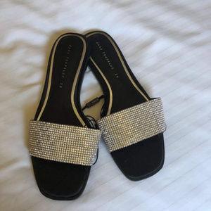 Zara Black Vamp Rhinestone Flat Slide Sandals 36